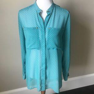 Michael by Michael Kors teal sheer blouse